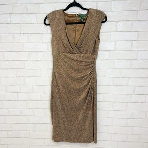 Ralph Lauren Gold Tinsel Cocktail Sheath Dress